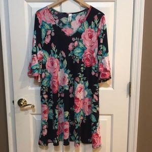 Floral Boutique Dress Ruffle Sleeves XL EUC